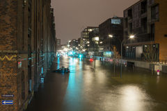 Flooded Street after Hurricane Xaver Stock Images