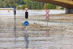 Flooded street Royalty Free Stock Image
