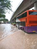 Flooded Street In Singapore. A rare sight - flooded street in Singapore Royalty Free Stock Image