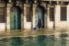 Flooded street, Venice Royalty Free Stock Photo