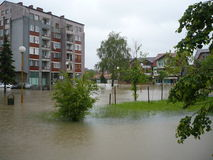 Flooded the streets of the city Lukavac Royalty Free Stock Photo