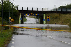 Flooded streets in Sweden Royalty Free Stock Photo