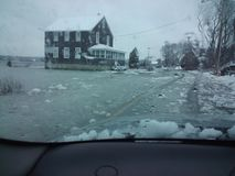 Flooded streets in winter Stock Photo
