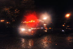 Flooded sttreet with fire track, caused by Sandy. BROOKLYN, NY - OCTOBER 29: Flooded sttreet with fire track, caused by Hurricane Sandy, are seen on October 29 Stock Image