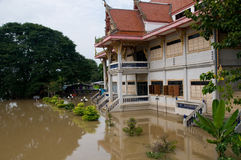 Flooded temple in Thailand Stock Photography