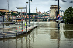 Flooded terrain in Europe a Stock Photo