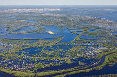Flooded terrain in lowland of Great river Stock Photos