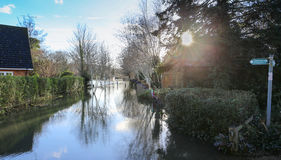 Flooded Thames footpath royalty free stock images