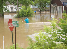 Flooded town Stock Photo