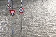 A flooded town in the Netherlands royalty free stock photos
