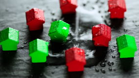 Flooded toy houses stock footage