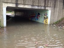 Flooded underpass. Flood northampton underpass A45 Royalty Free Stock Image