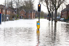 Flooded Urban Road With Traffic Lights Royalty Free Stock Image