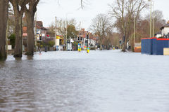 Flooded Urban Road With Traffic Lights Royalty Free Stock Photo