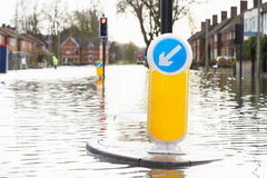 Flooded Urban Road With Traffic Lights Royalty Free Stock Photos