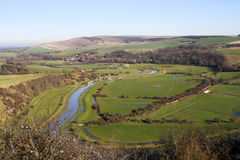 Flooded Valley. View of the South Downs across flooded valley Stock Photo