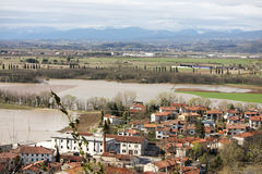Flooded valley. Flood in small village by river Vipava Stock Photos