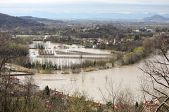 Flooded valley. Flood in small village by river Vipava Royalty Free Stock Image
