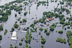 Flooded village in lowland of Great river Stock Image