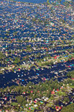 Flooded village in lowland of Great river. Top View of the same houses, which were flooded in vicinity of Great river. Aerial view of the flooded village beside royalty free stock photo