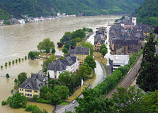 Flooded village by Rhine river. Aerial view of flooded village by river Rhine, St. Goar or Sankt Goar, Germany stock photography