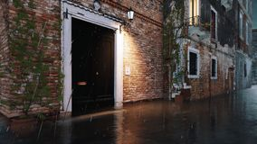 Old flooded building during Acqua Alta in Venice 4K