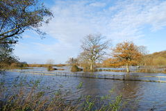 Flooded water meadow in autumn. Floodplain under water at West Parley Royalty Free Stock Photos