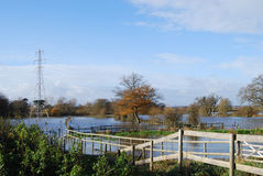 Flooded water meadow in autumn Royalty Free Stock Photography