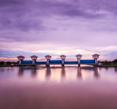Floodgate at the dam for irrigation and flood control Royalty Free Stock Images