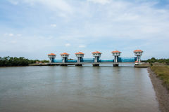 Floodgate River dam for irrigation and flood control in Thailand Royalty Free Stock Photos
