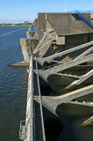 Floodgates of the dam Haringvlietdam, a Delta work. Netherlands, province South Holland, between the small town Hellevoetsluis and village Stellendam is the Stock Image