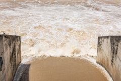The floodgates of the dam Open to drain water for agricultural stock photo