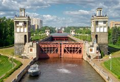Floodgates on the Moscow canal Stock Photo