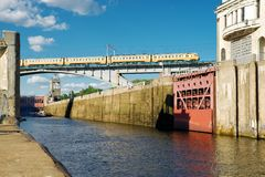 Floodgates on the Moscow canal Royalty Free Stock Photography
