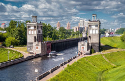 Floodgates on the Moscow canal Royalty Free Stock Photos