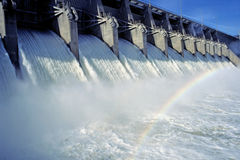 Floodgates open. Floodgates wide open at the eufaula dam spillway stock photos