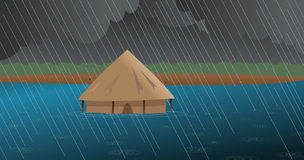 Flooding African village. Cartoon  illustration of a flooded African village Stock Photography