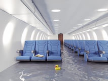Flooding airplane interior. 3d concept Stock Photography