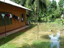 Flooding area near house. Background fill with water. After rain Stock Photos
