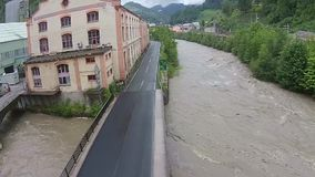 Flooding in austria stock footage