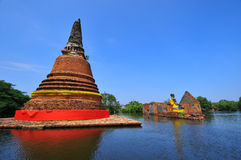 Flooding in Ayutthaya, Thailand. Ayutthaya, Thailand - 19 October: flooded Historical Temple in Ayutthaya, during the monsoon season Thailand on October 19 stock photography