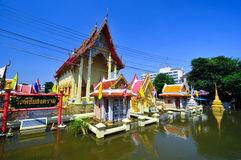 Flooding in Ayutthaya, Thailand. Ayutthaya, Thailand - 17 October: flooded Historical Temple in Ayutthaya, during the monsoon season Thailand on October 17 royalty free stock images