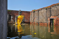 Flooding in Ayutthaya, Thailand. Ayutthaya, Thailand - 17 October: flooded Historical Temple in Ayutthaya, during the monsoon season Thailand on October 17 stock image