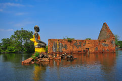 Flooding in Ayutthaya, Thailand. Ayutthaya, Thailand - 17 October: flooded Historical Temple in Ayutthaya, during the monsoon season Thailand on October 17 royalty free stock photo