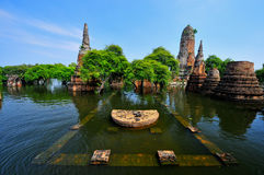 Flooding in Ayutthaya, Thailand. Ayutthaya, Thailand - 17 October: flooded  Historical Temple in Ayutthaya, during the monsoon season Thailand on October 17 Stock Images