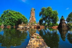 Flooding in Ayutthaya, Thailand. Ayutthaya, Thailand - 17 October: flooded Historical Temple in Ayutthaya, during the monsoon season Thailand on October 17 stock photography