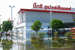 Flooding in Bangkok. Bangkok, Thailand - November 14: Home shopping Big-c. Nava Nakorn Industrial Park is in high flood, November 14, 2011 at Nava Nakorn Royalty Free Stock Photo