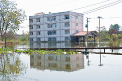 Flooding in Bangkok. Bangkok, Thailand - November 16: The house is flooded canal at November 16, 2011 at Pathum Thani. Bangkok, which is the worst flood in the royalty free stock photography