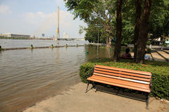 Flooding in Bangkok, Rama 8 Bridge, Thailand Stock Photo