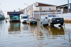 Flooding in Bangkok Thailand. Bangkok, Thailand - November 16: Car of the flood damage in Pathum Thani Province November 16, 2011. Bangkok, which is the worst Stock Photo